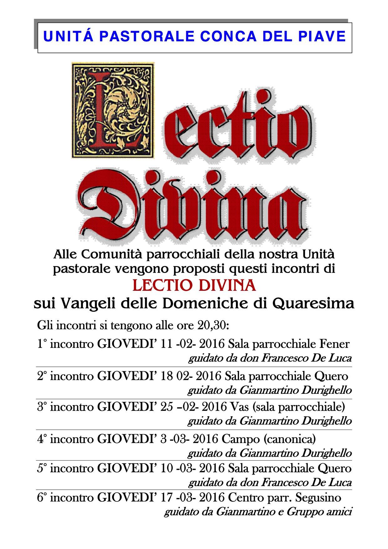 Lectio quaresima 2016