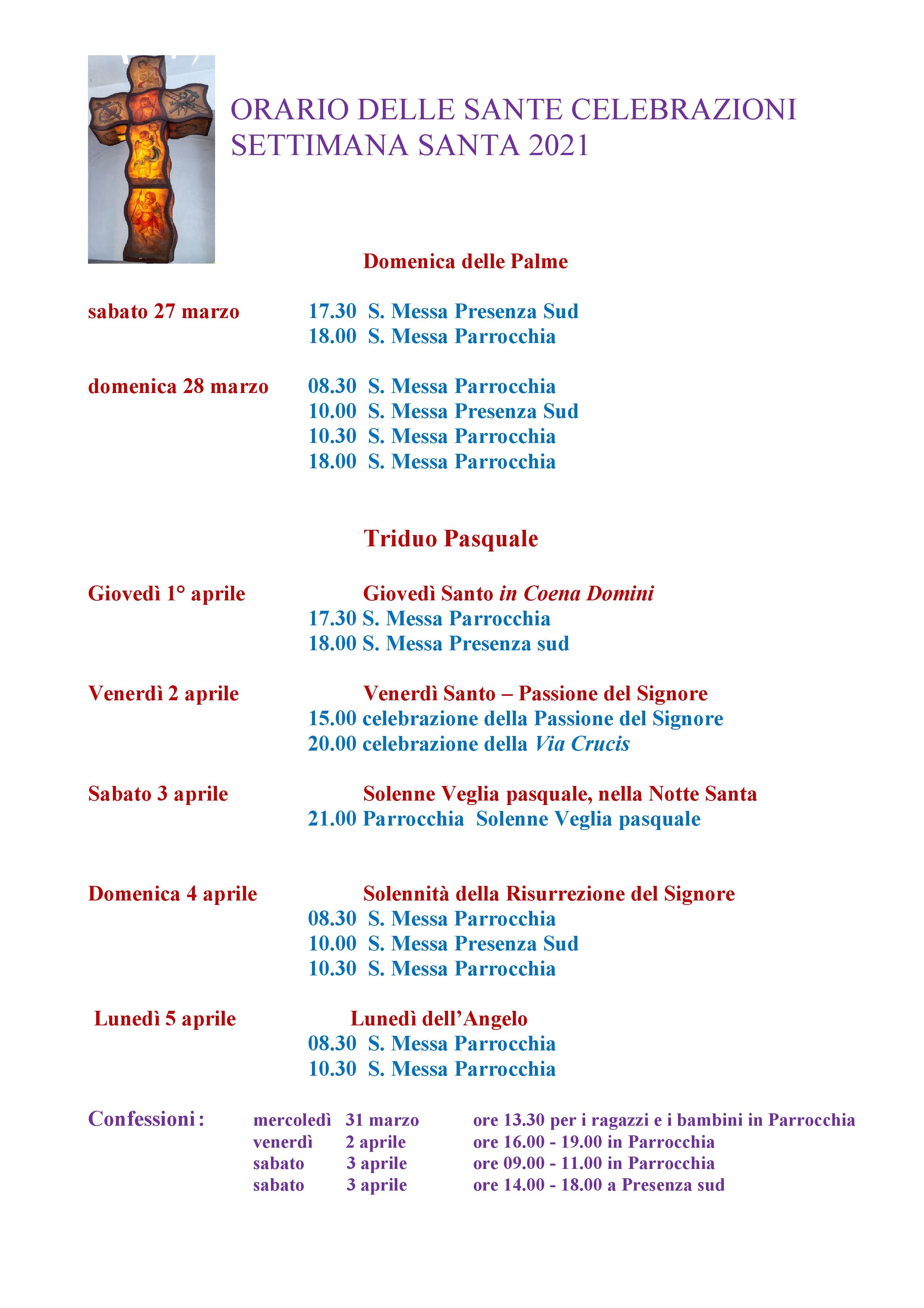 ORARIO DELLE SANTE CELEBRAZIONI Pasqua (1)