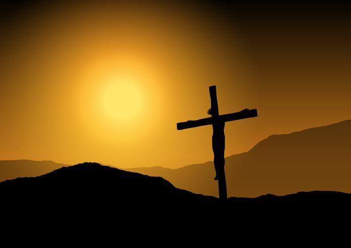 jesus-on-cross-at-sunset-vector