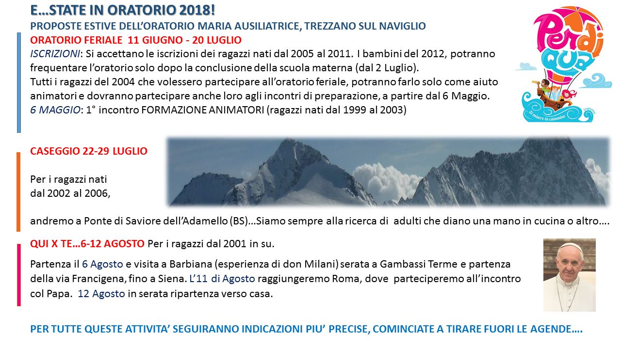 proposte oratorio estate 2018