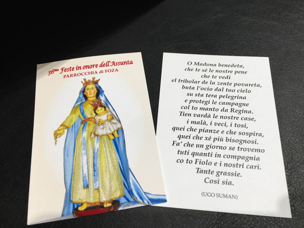 Il Santino ricordo regalatoci da don Federico