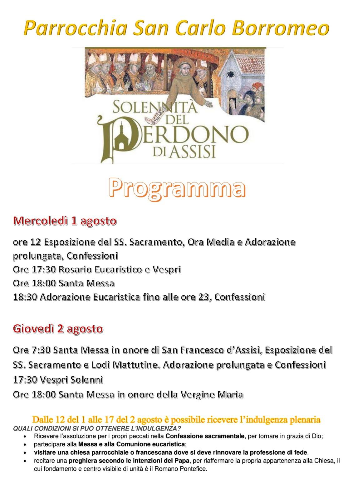 Solennità Perdono di Assisi 2018