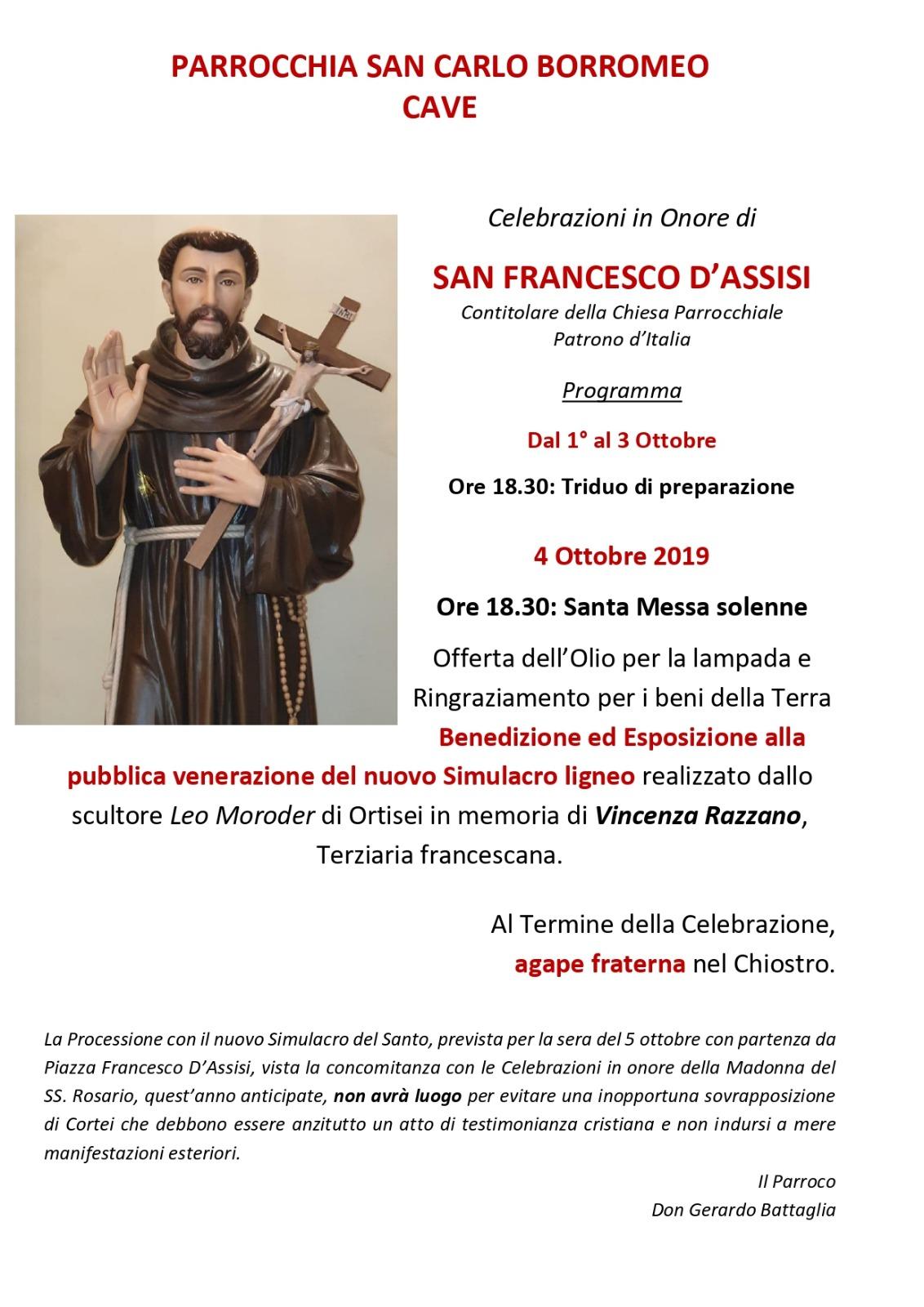 Celebrazioni San Francesco d'Assisi 2019