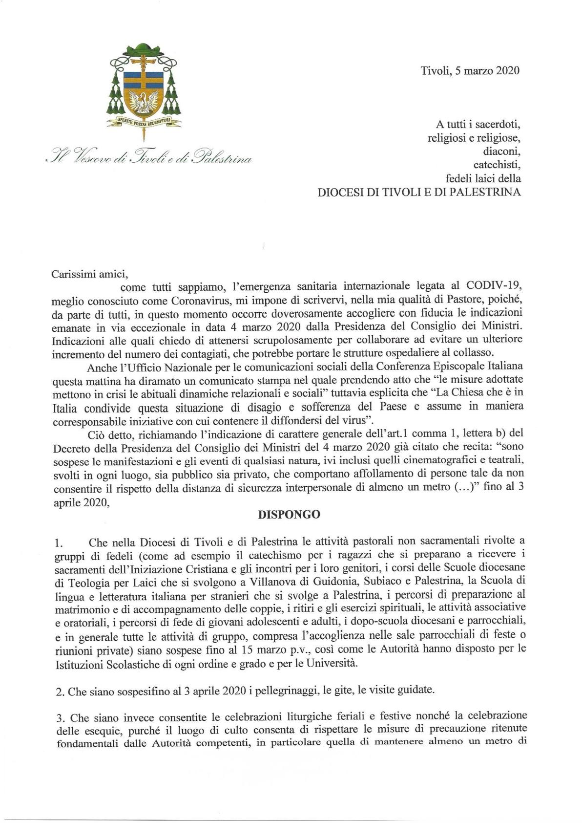 1 Disposizioni Diocesane Tivoli e Palestrina per COVID-19