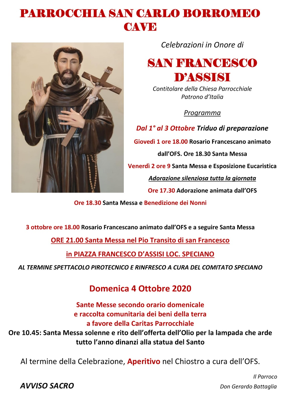 Celebrazioni San Francesco 2020