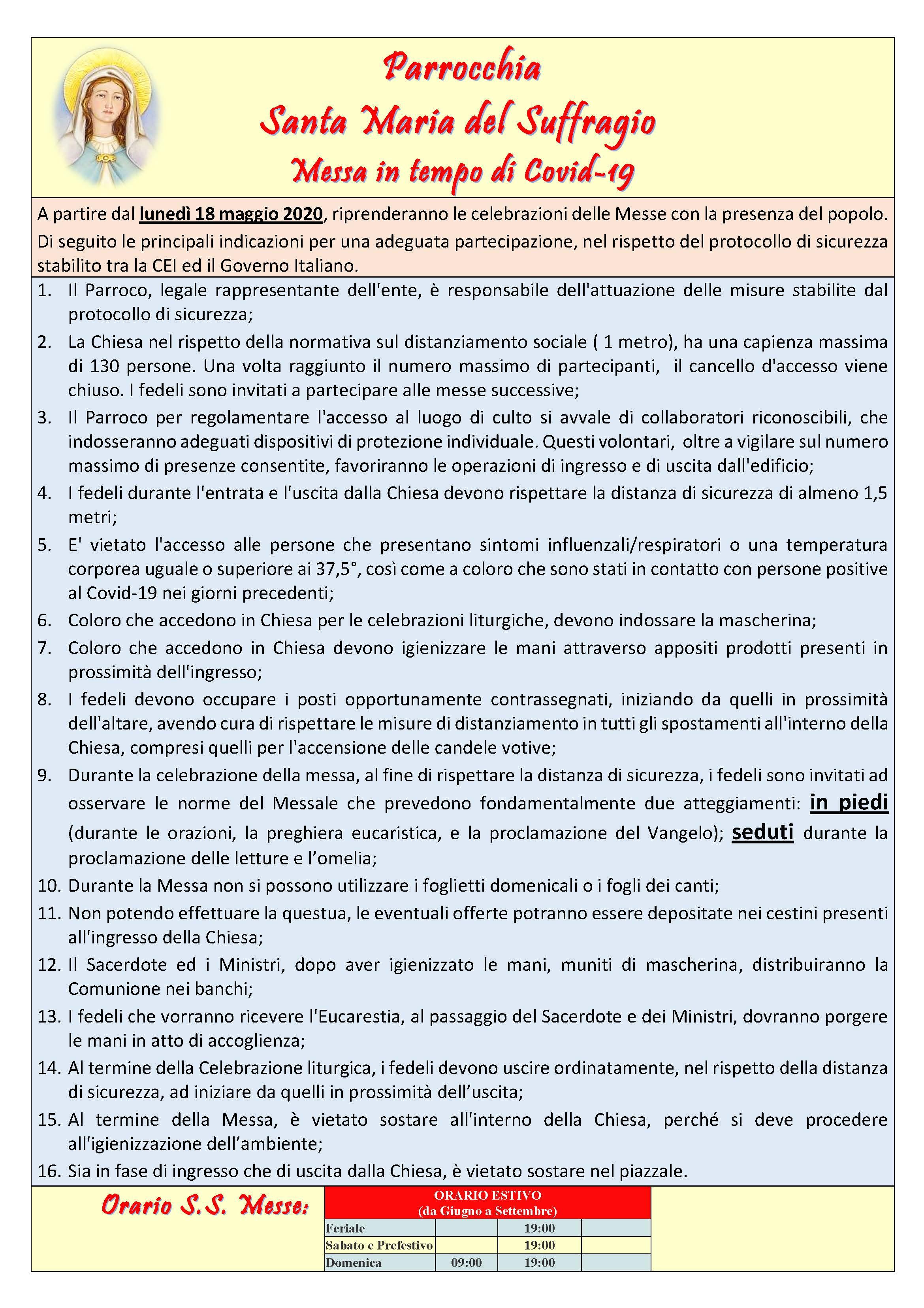 Regole protocollo CEI COVID - ESTIVO