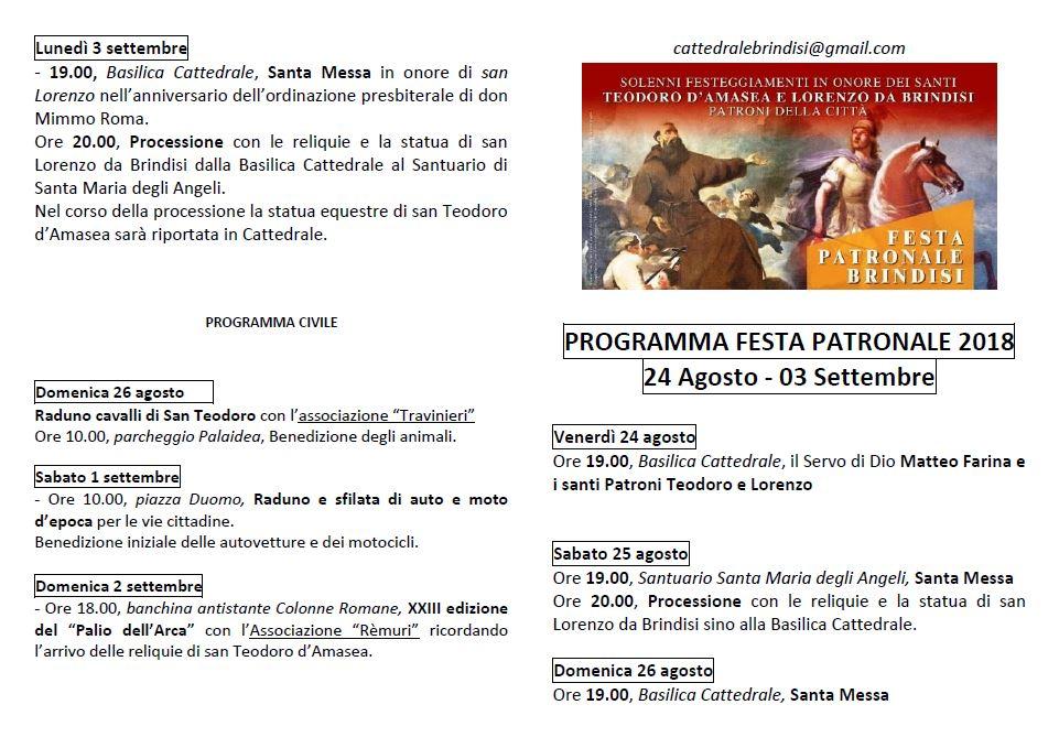 Programma Festa Patronale 1